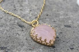gold rose quartz necklace images Gold necklace heart necklace pink rose quartz stone vintage JPG