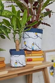 unique water resistant fabric plant pots in juneberry and bird