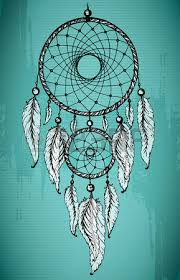hand drawn dream catcher with ornamental feathers on grunge green