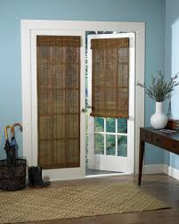 Exterior Single French Door by Interior Roll Up Roman Shades On White Frame Patio Door Combined