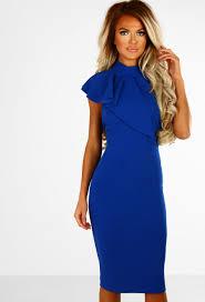 blue dress shock wave cobalt blue frill halterneck bodycon midi dress pink