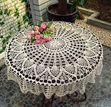 Round Kitchen Table Cloth by Amazon Com New Beige 36 U0027 U0027 Round Handmade Crochet Sunflower Lace