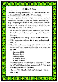 design a zoo maths problem solving using addition and