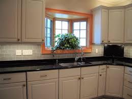 Beautiful Grey Glass Tile Kitchen Backsplash Featuring Subway