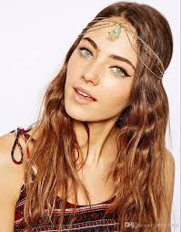 chain headband 2017 fashion bohemian women metal chain with turquoise