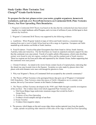 Continents And Oceans Worksheets Plate Tectonics Study Guide 4 Doc