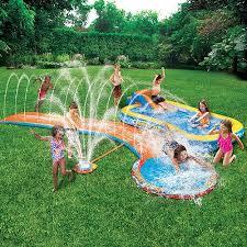 Backyard Slip N Slide Banzai Aqua Drench 3 In 1 Inflatable Splash Park Walmart Com