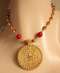 golden pendant necklace images Rudraksha ganesha red coral gemstone handmade golden necklace set jpg