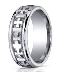 mens silver rings mens argentium silver cross ring polished finish