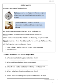 how to install smoke detector smoke alarms fire safety worksheet free esl printable