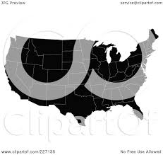 United States Map Black And White by Royalty Free Rf Clipart Illustration Of A Black Map Of The