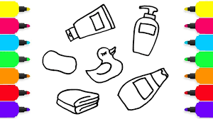 how to draw bath and shower set for kids coloring pages
