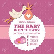 invitation card cartoon design stork cartoon icon baby shower invitation card colorful design