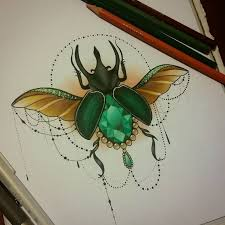 drawn beetle dark green pencil and in color drawn beetle dark green