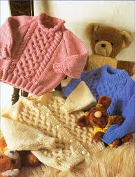 baby childs childrens aran sweaters and cardigan knitting pattern