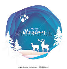 origami snowfall merry greetings card stock vector