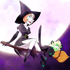 halloween kitty witch pearl and kitty peridot wishing everyone to have a great