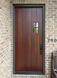 Stain Exterior Door Single Craftsman Front Entry Door With Wooden Stained Wall