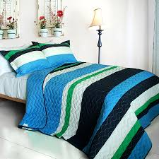 Boys Duvet Cover Full Blue Navy Green Striped Bedding Full Queen Quilt Set Teen Boy Or