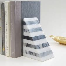 monogram bookends striped angle geometry bookend west elm