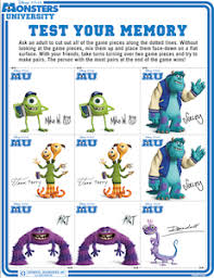 monsters university activity sheets directions