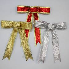wired ribbon 15cm silver gold sparkling glitter christmas bow decoration