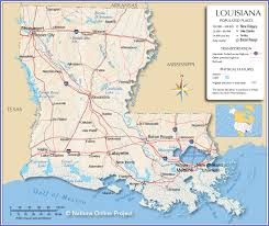 Map Of The Mississippi River Reference Map Of Louisiana Usa Nations Online Project