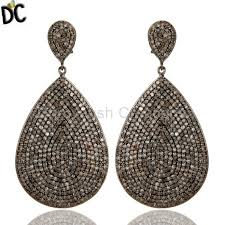 teardrop diamond earrings oxidized sterling silver pave setting diamond teardrop earrings