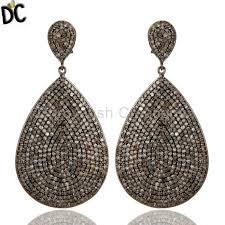 diamond teardrop earrings oxidized sterling silver pave setting diamond teardrop earrings
