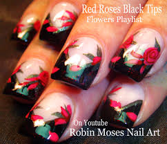 robin moses nail art red roses on black tips
