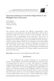 assessment schemes in the senior high in the philippine