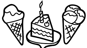 coloring page of a birthday cake and ice cream to color for