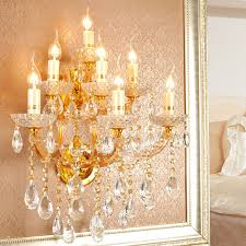 Large Wall Sconce Lighting Glamorous 7 Light Crystal Golden Base Large Wall Sconces