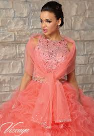 quinceanera dresses coral two ruffled tulle skirt with lace bodice and beading