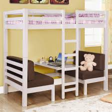 Cream Laminate Flooring White Wooden Bunk Bed Having Wooden Ladder And Desk Also Brown