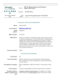 Human Anatomy And Physiology Courses Online Bio 201 Syllabus Fall 2013 Online