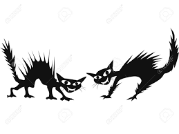 scary halloween white background isolated two black cartoon scary cats on white background royalty