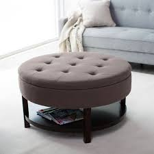 large round storage ottoman large round storage ottoman coffee table leather brown color tufted