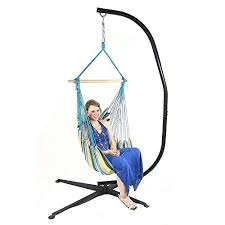 sunnydaze hanging hammock swing with two cushions and c stand