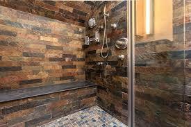 Rustic Tile Bathroom - rustic 3 4 bathroom with adjustable shower head u0026 built in shower