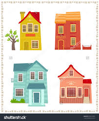 two houses stock vector two houses set of four colorful two