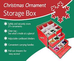 amazon ngenius christmas ornament storage box with drawers amazon ngenius christmas ornament storage box with drawers for large ornaments home kitchen