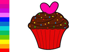 learn colors for kids with color chocolate heart cupcake coloring