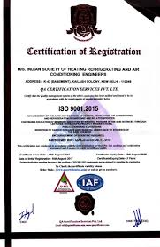 Hvac Certification Letter Ishrae Indian Society Of Heating Refrigerating And Air