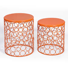 Orange Side Table Adeco Home Garden Accents Circle Wired Iron Metal Nesting