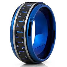 black and blue wedding rings men s brushed blue titanium wedding bands ring with black and blue