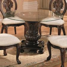 Coaster Dining Room Sets Coaster Tabitha Traditional Round Dining Table With Glass Top