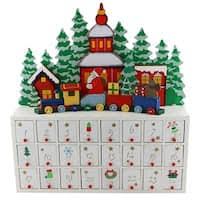 lighted santa s workshop advent calendar lighted santa s advent wooden workshop free shipping today