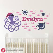 pirate wall decals etsy pirate octopus name wall decal personalized cute ocean baby nursery fish sharks boy girl under the sea nautical underwater theme