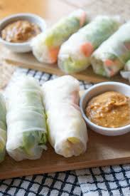 rice paper wrap fresh veggie rolls with peanut sauce tomato boots